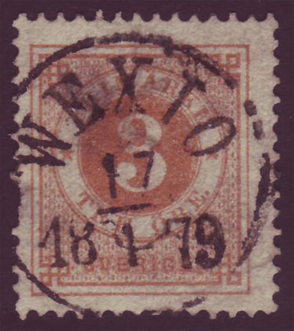 SW00285 Sweden Stamp # 28 VF used, Ring Issue 1877-79