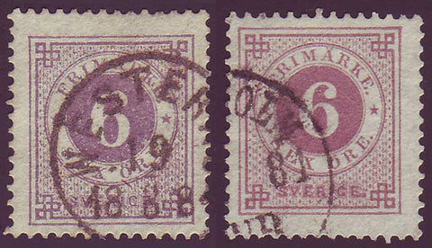 SW00315 Sweden Stamp # 31+31a, used duo, Ring Issue 1877-79