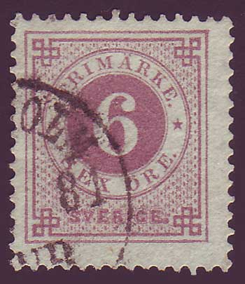 SW0031a5 Sweden Scott # 31a (red lilac)
