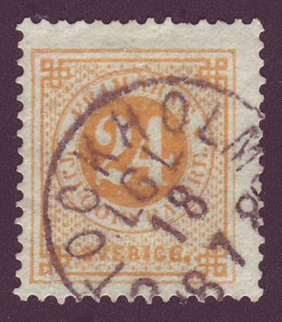 SW00345 Sweden Stamp # 34 (orange), Ring Issue 1877-79