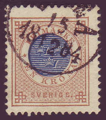 SW00385 Sweden Stamp # 38  Ring Issue 1877-79