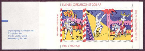 SW1656a1 Sweden booklet MNH,  The Circus in Sweden 1987