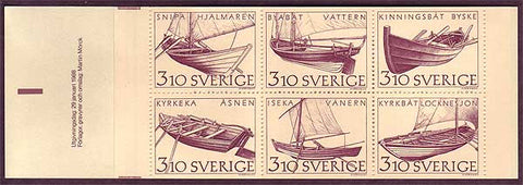 SW1671a  Sweden booklet MNH,          Scott # 1671a        Inland Boats 1988