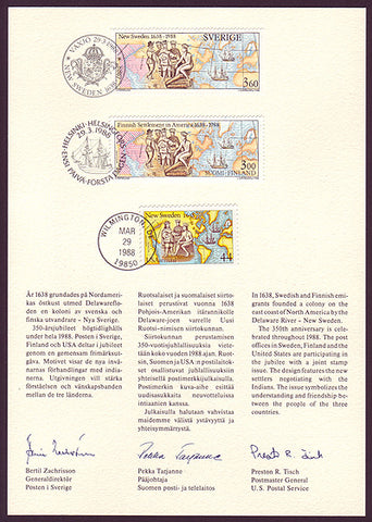 SW1672 Joint Sweden / Finland / USA issue 1988