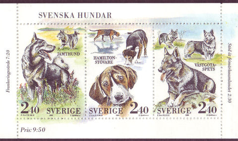 SW1765 Sweden       Scott # 1765 MNH booklet pane,      Dogs