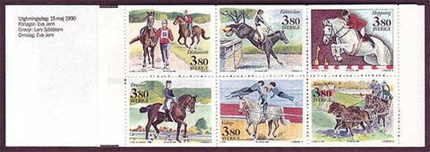 SW1818a Sweden booklet MNH,    World Equestrian Games 1990