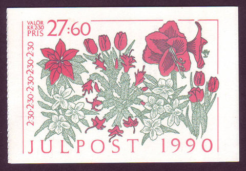 SW1855a Sweden booklet MNH,  Christmas Flowers 1990