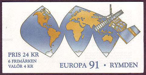 SW1893a  Sweden booklet MNH,      Europa - Space Exploration 1991