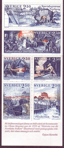 SW1903a Sweden booklet MNH,          Iron Mining in Sweden 1991