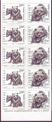 SW1923c Sweden booklet MNH,     Wild Animals II - 1991