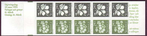 SW1996b Sweden booklet MNH, Berries and Fruit - 1993