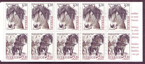 SW2048a Sweden booklet MNH     Domestic Animals 1 - Horses 1994