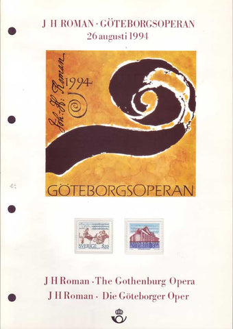 SW2093-94CS Sweden Collector's Sheet, Gothenburg Opera - 1994