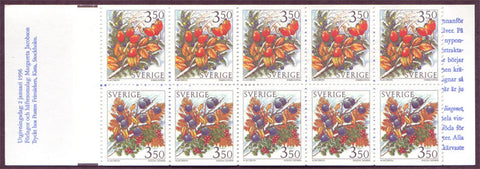 SW2162a Sweden booklet MNH,       Winter Berries - 1996