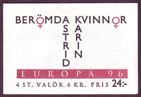 SW2175a Sweden booklet MNH,  Famous Women - Europa 1996