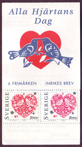 SW2267a Sweden booklet MNH,       Valentine's Day Hearts - 1998