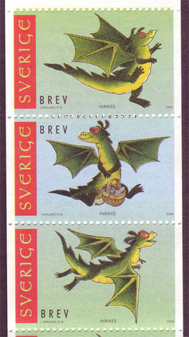 SW2367-69  Sweden/Suède booklet pane MNH,       Year of the Dragon - New Year 2000
