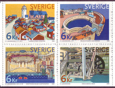 SW2406 Sweden booklet pane MNH,      Swedish World Heritage Sites - 2001