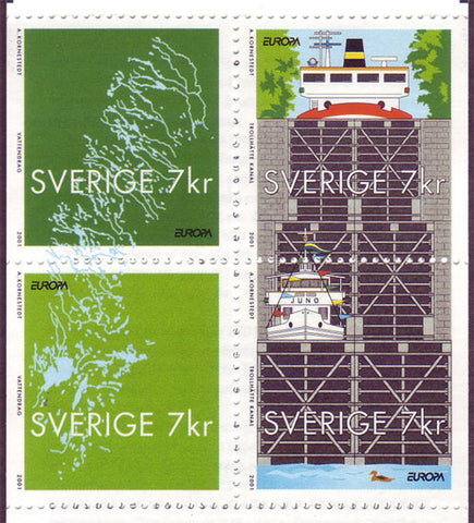SW2413 Sweden booklet pane MNH,       Waterways - Europa 2001