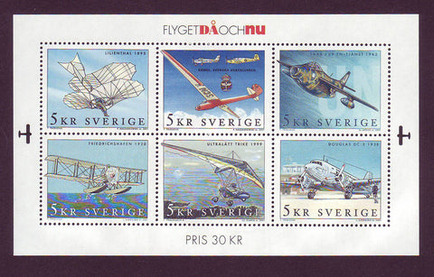 SW2421 Sweden Scott # 2421 MNH,  Souvenir sheet MNH,  Aviation 2001