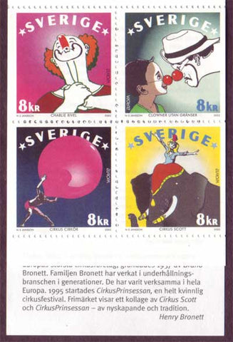 SW2439 Sweden# 2439 MNH block of 4,   Circus - Europa 2002