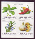 Swedish stamps showing culinary herbs: dill, chives, rosemary, garlic