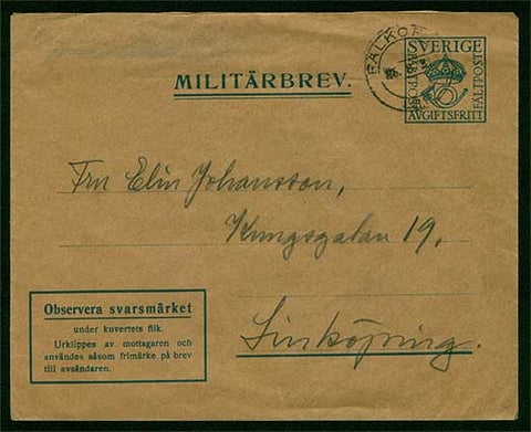 SW5004 Sweden Military Postal Stationary Cover, postmarked 25.8.31.