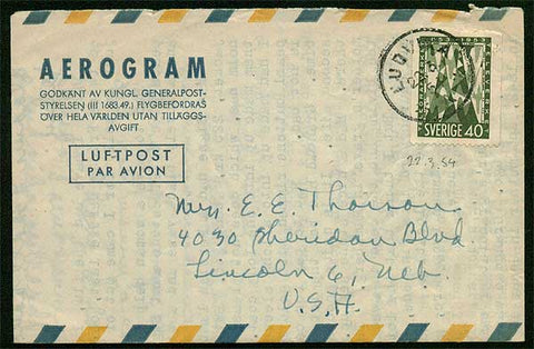 SW5008 Sweden Aerogram to the USA. Postmarked Ludvika  22.3.54.