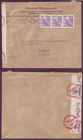 SW5015 Sweden  Censored cover to Germany