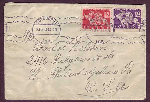 SW5026 Sweden Cover to U.S.A. Göteborg 23.3.1933.
