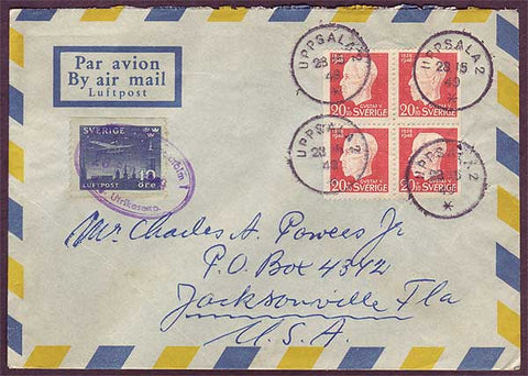 SW5027PH Sweden Air mail letter to USA - Uppsala 28 .12.1949