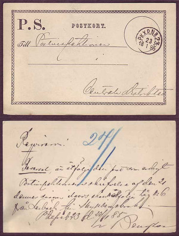 SW5029 Sweden Official postcard with Railroad cancel 23.1.1885
