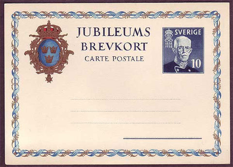 SW5031 Sweden Gustaf V Jubilee postcard unused