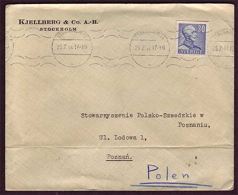 SW5032 Sweden Business mail to Poland 25.5.1947