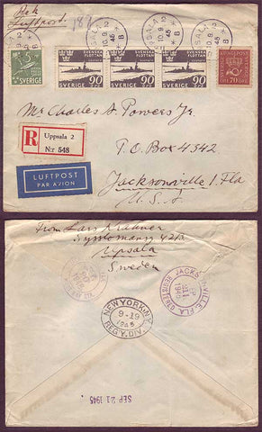 SW5033PH Sweden Registered Air Mail cover to USA, Uppsala 10.9.1945