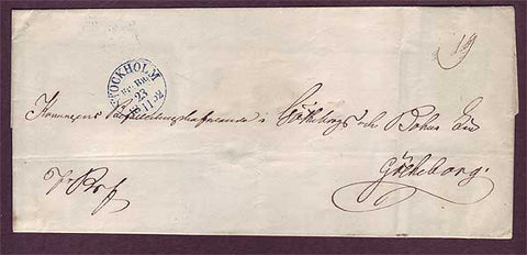 SW5034PH Sweden  Stampless cover 1852