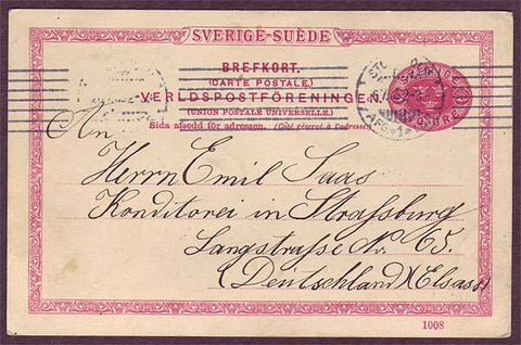 SW5036PH Sweden Single post card to Germany