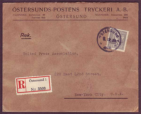 SW5043PH Sweden       Registered business mail to USA - 1938