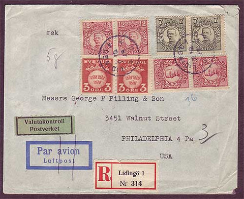 SW5044PH Sweden  Registered business airmail to USA 1948