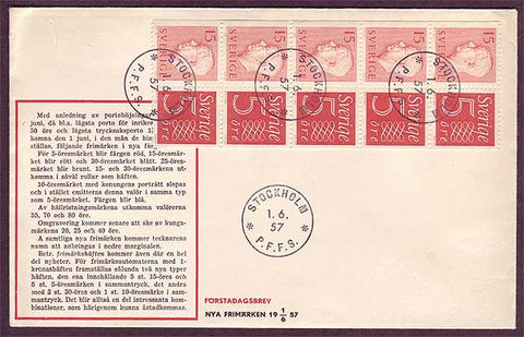 SW5057PH Sweden First Day Cover 1957