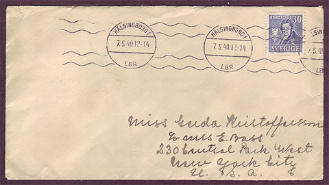 SW5133PH Sweden Letter to USA 1940