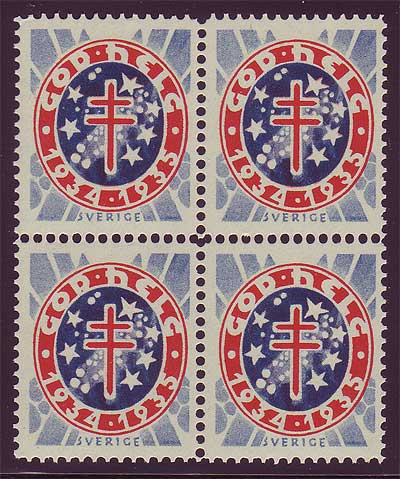SW8034  Sweden Christmas seal 1934, block of 4 MNH