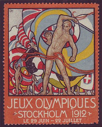 SW9003 Sweden Stockholm 1912 Olympic Games label - French