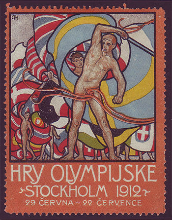 SW9004 Sweden Stockholm 1912 Olympic Games label - Czech