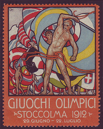 SW9007 Sweden Stockholm 1912 Olympic Games label - Italian