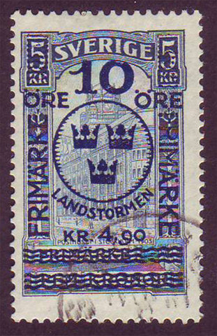 SWB0115 Sweden Scott # B11 VF Used, Stockholm Post Office surcharged 1916