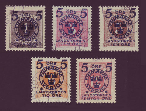 SWB12-16 Sweden Scott # B12-16 Used, Militia 2 - 1916