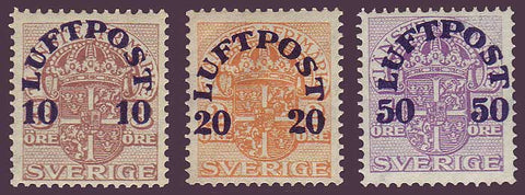 SWC1-31PE Sweden Scott # C1-3 VF MNH**, First Airmail Issue - 1920