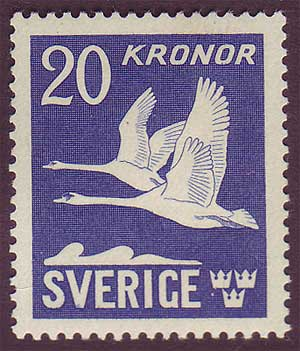 SWC8c2 Sweden Scott # C8c VF MH,  Flying Swans 1942-53