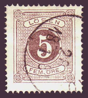 SWJ035 Sweden Scott # J3 F-VF, Postage Due - 1874